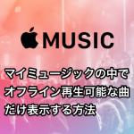 【Apple Music】マイミュージックの中でオフライン再生可能な曲だけ表示する方法