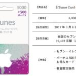 セブンイレブン、500円分のボーナス付きiTunes Cardを数量限定販売中